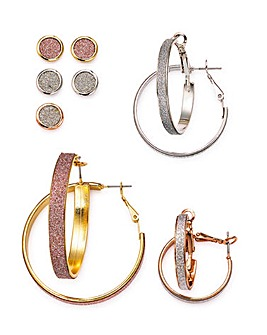 Glitter Hoops And Studs Earrings