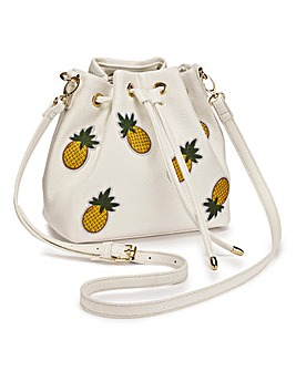 Embroidered Pineapple Duffle Bag