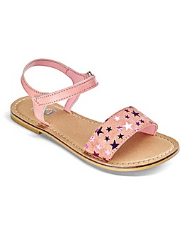 TKD Girls Leather Star Print Sandal
