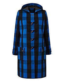 Cobalt Check Duffle Coat Length 37ins