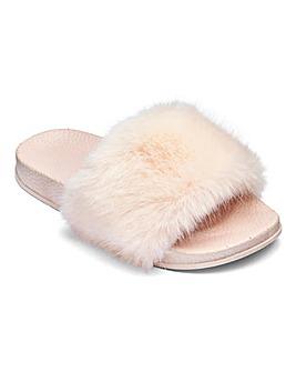 Girls Faux Fur Sliders