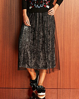 Mesh Covered Velour Midi Skirt