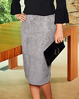 Suedette Smart Midi Pencil Skirt