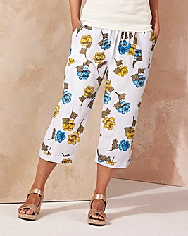 Print Slouch Linen Mix Crop Trousers