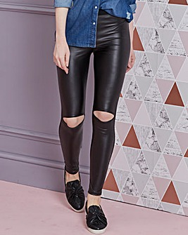 Split Knee PU Wet Look Front Leggings