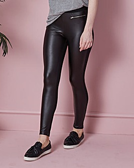 Zip Trim PU Wet Look Leggings Reg