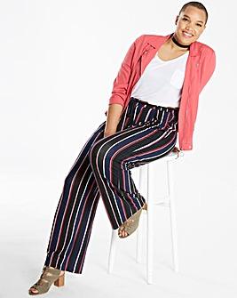 Stripe Wide Leg Tie Waist Trousers Reg
