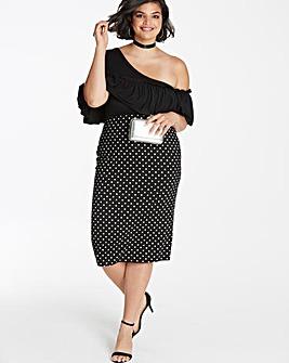 Spot Tube Jersey Midi Skirt