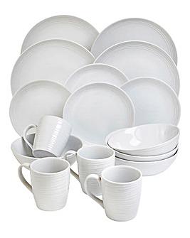 White Embossed 16pc Dinnerset