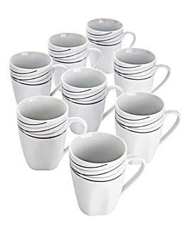 Monochrome Waves 8-Piece Mug Set