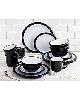 16-Piece Camden Dinner Set Black