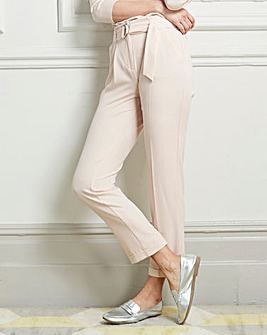 Belted Crepe Tailored Trousers