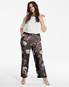 Printed Wide Leg Crepe Trousers
