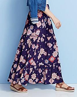 Print Crinkle Shirred Waist Maxi Skirt