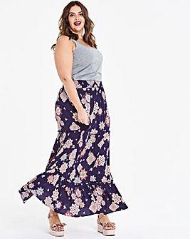 Print Crinkle Shirred Waist Maxi Skirt