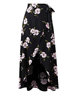 Petite Print Mock Wrap Tie Waist Skirt