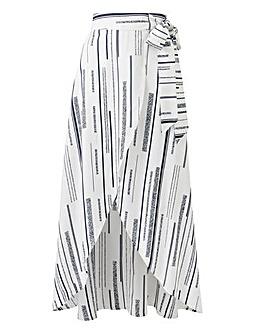 Pet Print Mock Wrap Tie Waist Skirt