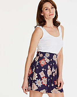Print Crinkle Shirred Waist Shorts
