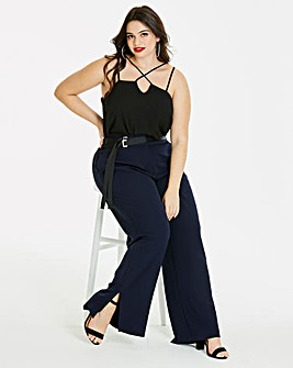 Textured Wide Leg Trousers