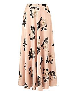 Foil Print Floral Maxi Skirt