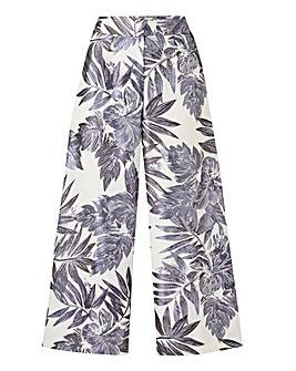 Petite Foil Print Crop Wide Trousers