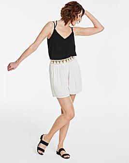 Metallic Stripe Bead Waist Shorts