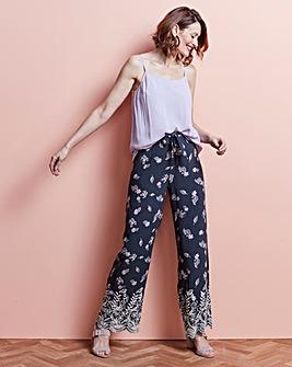 Printed Lace Hem Wide Leg Trousers