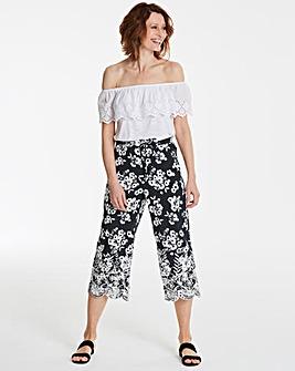 Floral Print Lace Hem Culottes
