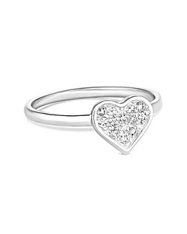 Simply Silver Pave Heart Ring