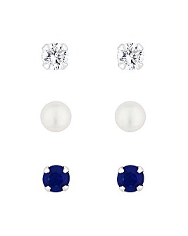 Simply Silver Blue Stud Earring Set