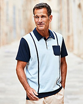 Premier Man Blue Welted Hem Polo R