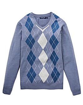 Premier Man Blue Argyle Jumper R