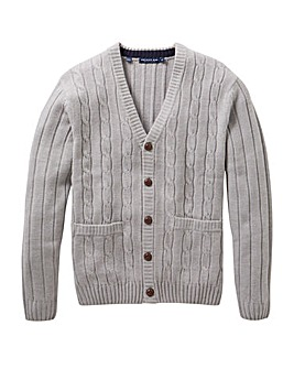 Premier Man Grey Cable Button Cardigan R