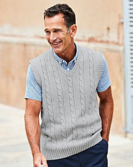 Premier Man Grey V Neck Cable Slipover R