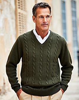 Premier Man Khaki V Neck Cable Sweater R