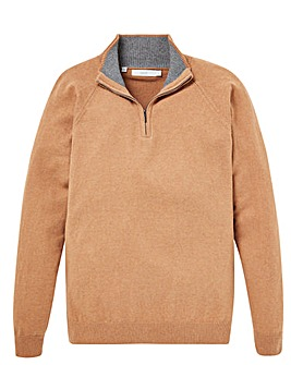 W&B Camel Zip Neck Jumper R