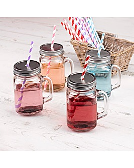 4 Mason Glass Jars With Straws