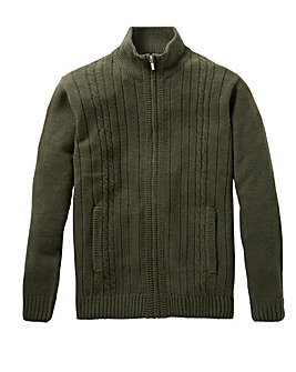 Premier Man Khaki Zip Cable Cardigan R