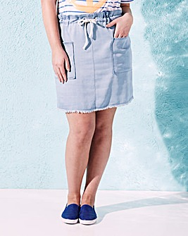 Short Rope Belt Soft Denim Skirt