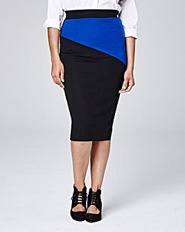 Colour Block Tube Jersey Midi Skirt