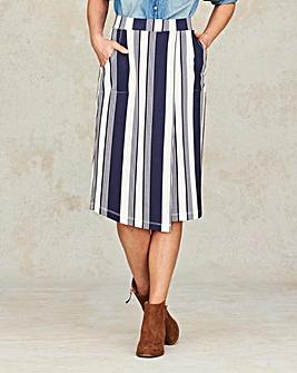 Striped Asymetric Hem Jersey Skirt