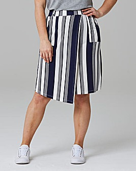 Striped Asymetric Hem Jersey Skirt