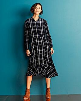 Black Check Midi Shirt Dress