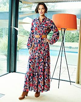Navyt/Multi Printed Maxi Dress