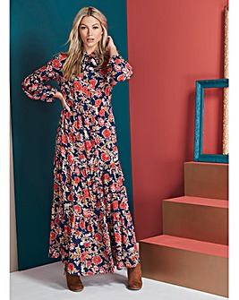Navyt/Multi Printed Maxi Dress