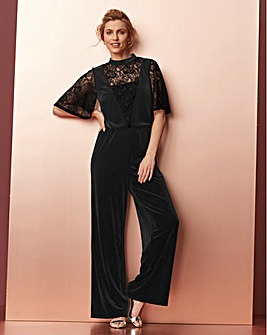 Black Velour Lace Mix Jumpsuit