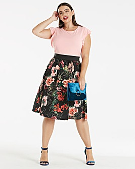 Pink Print Ruffle Sleeve Dress