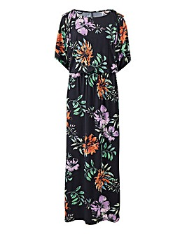Printed Split Sleeve Maxi Dress