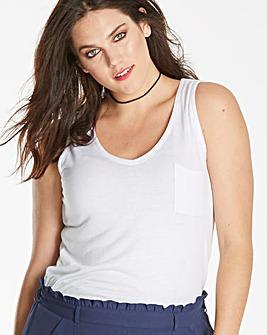 White Pocket V Neck Jersey Vest