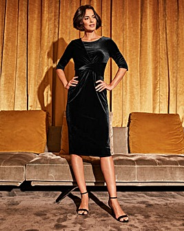 Black Drape Front Velour Dress